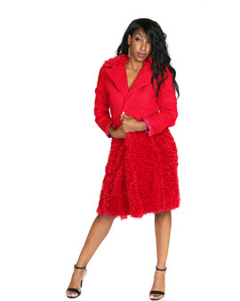 Red stretch cotton and faux fur wrap coat dress
