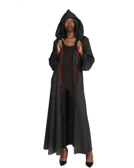 Charcoal grey maxi coat with hood and red zipper