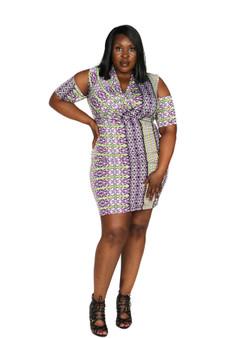 Black white and grey multi color cold shoulder 3/4 length dress