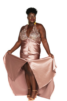 Rose gold satin and sequin halter style gown