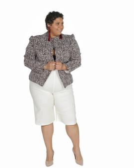 2pc brown and crème print short suit