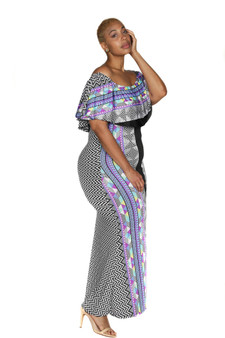 Black multi color two way cold shoulder maxi dress