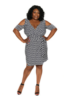 Navy blue and white check fitted ambassador dress