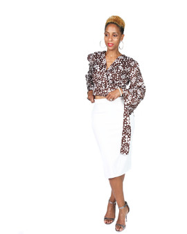 Brown and off white wrap front tie shirt with off white knit skirt
