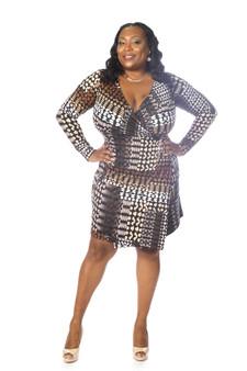 Brown multi faux wrap ambassador dress