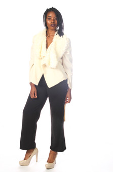 Winter white front wrap jacket with faux fur collar and tie belt (Sold Out)