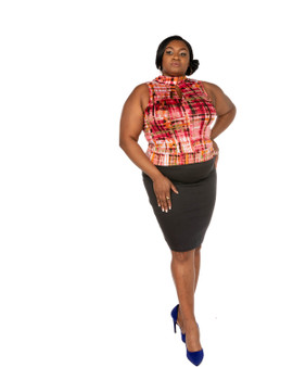 2pc grey  skirt and fuchia multi color faux wrap front sleeveless shirt(Power 5 Collection)