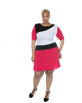 Fuschia pink black and white ITY dress short sleeves