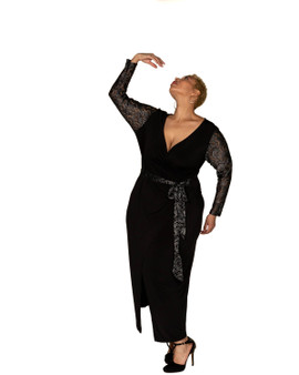 Black faux wrap ambassador gown with silver lace accent tie belt and sleeves.