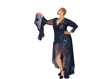 Navy blue and sequin faux wrap ambassador dress (As seen in Size Overrated Magazine Fall Issue)
