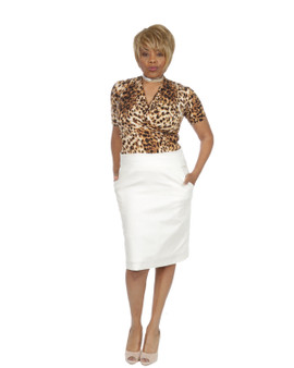 Faux wrap leopard print top