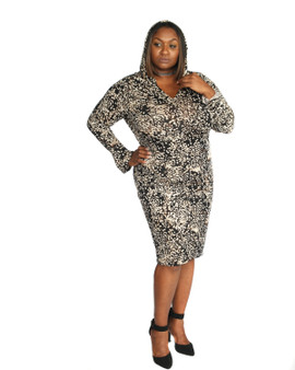 Brown and off white multi print hooded dress