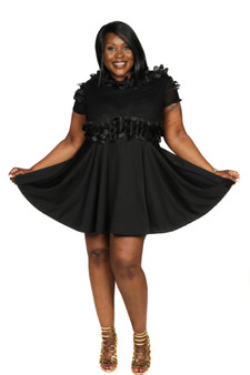 Black petal feathers and scuba swing dress
