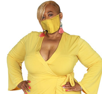 Yellow,  cloth, reversible  and washable cloth mask