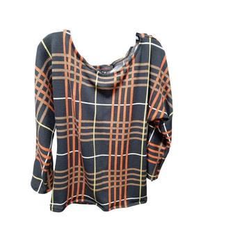 Black Multi Plaid Dolman Sleeves Sweater