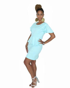 Auqa blue fitted sheath dress with cap sleeves front ruffle