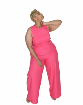 Fuschia pink jumpsuit with back button and zipper