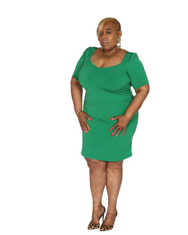 Kelly green fitted ITY dress