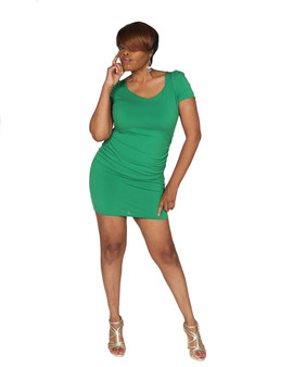 Kelly green fitted above knee ITY dress