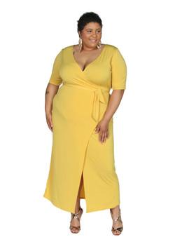Meri gold ITY ambassador maxi dress tie front