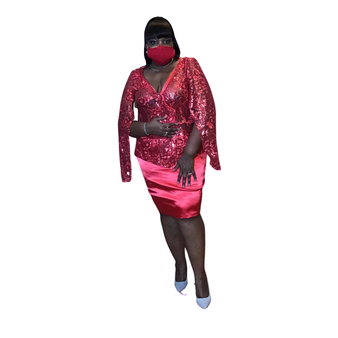 Red Satin and Sequin Suit