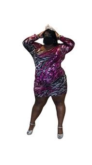 Fuschia Pink and Black Multi ITY Dolman Sleeve Dress