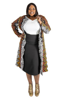 Black, white and brown multi color duster/coat