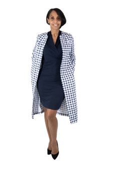 Navy blue and white check duster