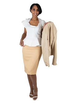 Taupe pinstripe fitted skirt