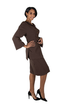 Chocolate brown fitted skirt