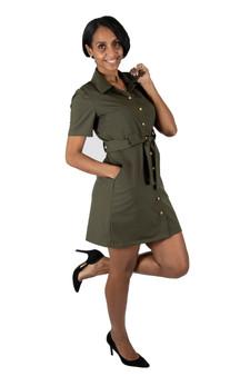 Olive green belted dress