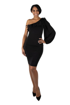 Black ITY fitted one sleeve dress with fringe neckline