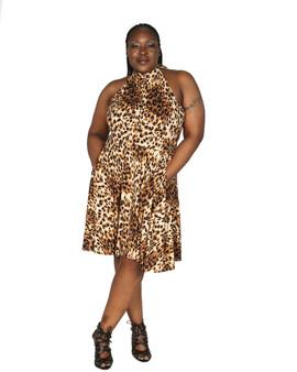 Leopard swing dress  tie neckline