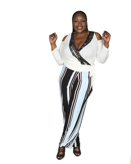 White, black aqua blue multi color ITY wrap front pinstripe pants