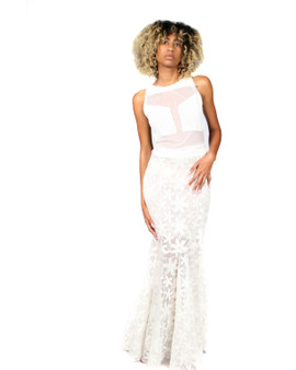 Off white mesh and embroidered lace gown