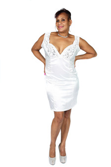 Off white stretch satin and embroidered lace dress