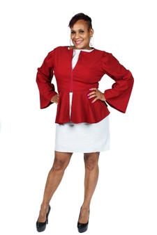 Burgundy peplum waist jacket, bell sleeves, zipper front