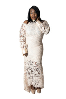 Nude Sequin and lace gown with satin cuff and neck band