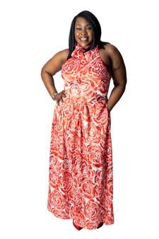 Red and white stretch flower satin halter dress