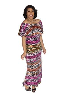 Fuchia Pink Orange Multi ITY off the Shoulder Maxi Dress