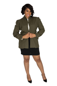 Olive green single button front blazer