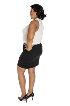 Black fitted above knee skirt
