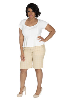 Taupe and cream knee length shorts