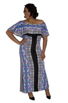 Black White Multi Off Shoulder Maxi Dress