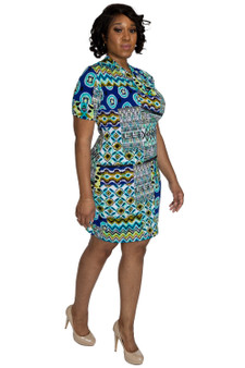Turquoise, royal blue multi color fitted ambassador dress