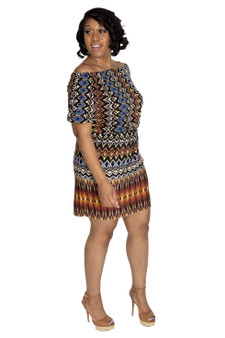 Brown, black multi color abstract dress