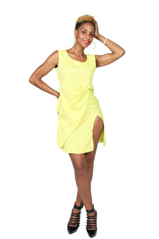 Lime green fitted linen faux wrap sheath dress