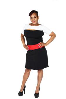 Egg shell white, black and red dress
