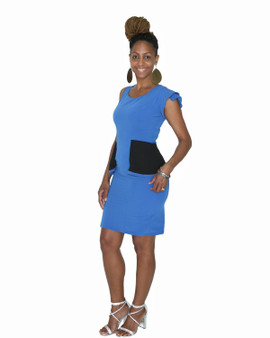 Royal blue and black fitted sheath dress