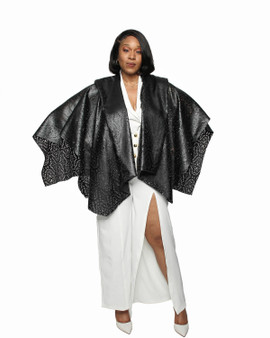 Black Faux leather poncho with tie belt